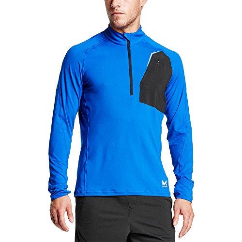 Mission Mens VaporActive Stamina Lightweight 1/4 Zip Long Sleeve Pullover, Lapis Blue/Moonless Night, Medium