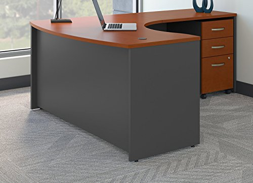 Bush Business Furniture Series C Right Handed L Shaped Desk with Mobile File Cabinet in Auburn Maple