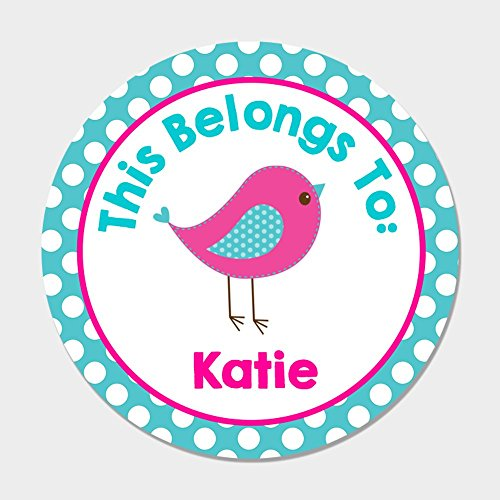 40 Personalized Back to School Name Tag Stickers - Pink & Blue Bird Kids Name - Kids Names Pink