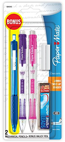 Paper Mate Clearpoint Mechanical Pencils, 0.7mm, HB #2, with Bonus InkJoy 300RT Blue Ballpoint Pen, 2 + 1 (Papermate Sharpie)