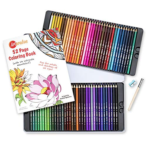 Artavalon 72 Colored Pencils Bundle Set - Includes 52 Page Mandala Coloring Book for Kids and Adults, Pencil Extender, Pencil Sharpener - Soft Wax Pencils with Bright, Vibrant Colors