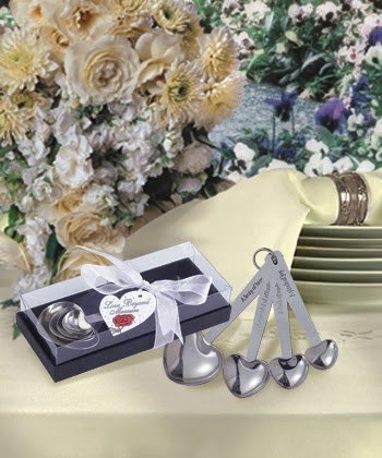 Heart Shaped Measuring Spoons (50) (Favors Silver Bell Charming)
