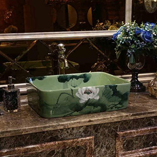 樹脂洗面台天然石楕円形凹型黄色と白のセラミックシンク洗面台セラミックカウンタートップ洗面台洗面台花と鳥