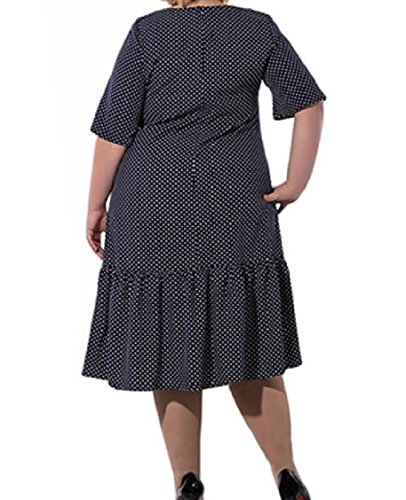 Coolred-femmes À Pois Solides En Vrac Surdimensionnés Robes Du Soir Classique 4xl Bleu Foncé