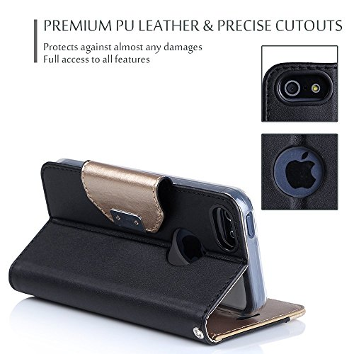 iPhone SE / 5S Case Cover, ProCase Wallet Flip Case, with Wristlet Strap, Build-in Card Slots and Mirror, Stylish Slim Stand Cover for Apple iPhone SE / 5S (Black) by ProCase (Image #3)