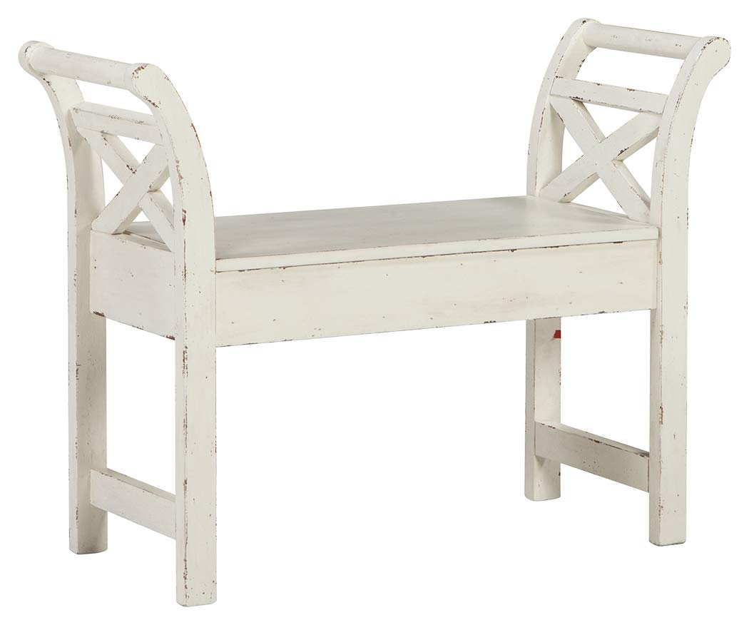 Ashley Furniture Signature Design - Heron Ridge Storage Accent Bench - Antique White Finish - Hinged Seat by Signature Design by Ashley