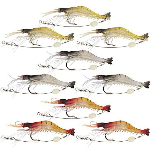 Shelure Soft Lures Shrimp Bait Set, Freshwater/Saltwater, Trout Bass Salmon, 9 Piece