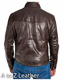 Mens Brown Leather Smart Fitted Denim Shirt Style Stud Button Trucker Jacket