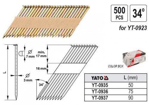 Yato yt-0936/N/ägel 34/x 75/x 3/mm