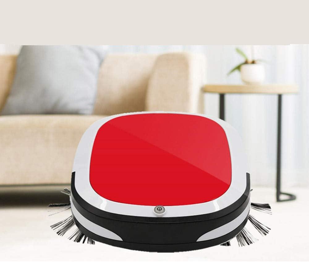 XJZKA Aspirateur Robot Intelligent 1200pa, aspirateur Robot à Chargement Automatique Ultra-Silencieux, adapté aux sols durs, aux Poils d\'animaux-Rouge Rouge