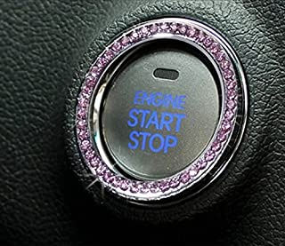 JessicaAlba Car Interior One-Key Engine Start Stop Ignition Push Button Decorative Diamante Ring for Cars, Trucks, Jeeps, SUV, and More.