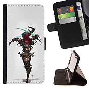 DEVIL CASE - FOR Apple Iphone 5 / 5S - cool sexy cosplay redhead warrior girl armor - Style PU Leather Case Wallet Flip Stand Flap Closure Cover