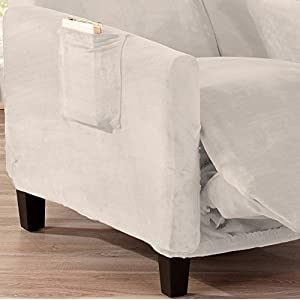 Great Bay Home Modern Velvet Plush Strapless Slipcover. Form Fit Stretch, Stylish Furniture Cover/Protector. Gale Collection by Brand. (Recliner, Silver Cloud)