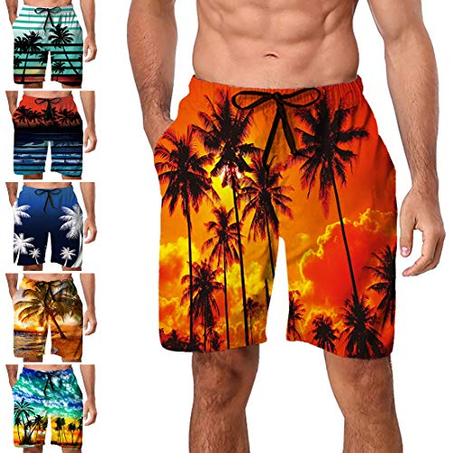 Freshhoodies Men's Hawaiian Swim Trunks Beach Board Shorts Summer Casual Bathing Suits with Side Pockets Quick Dry (Style A7, Small) ()