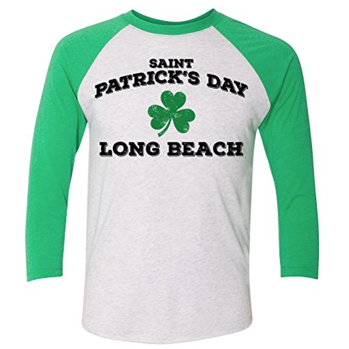 ShirtScope ST Patrick's Day Long Beach CA Baseball Raglan Shirt - 2nd Beach Long St