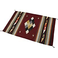 Splendid Exchange Hand Woven Acrylic Southwest Area Rug, 4 Feet by 6 Feet, Kilim Diamond Maroon