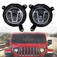 MOVOTOR 7 inch Led Headlight with V DRL Amber Turn Signal Halo + Omni-directional Adjust Adapter Ring Brackets for Jeep Wrangler JL 2018-2019