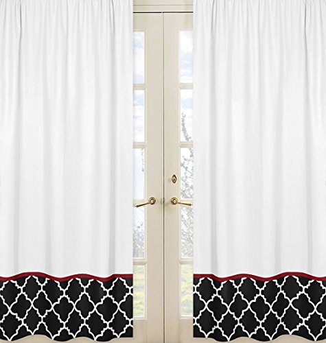 Sweet Jojo Designs 2-Piece Red, Black and White Trellis Print Collection Lattice Window Treatment Panels