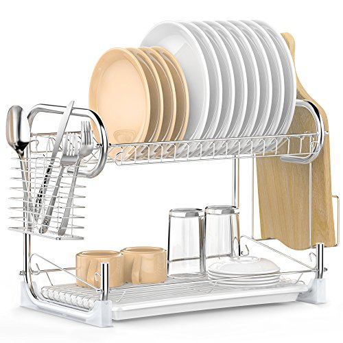 PECLE 2-Tier Dish Rack with Utensil Holder, Cutting Board Holder and Dish Drainer for Kitchen Counter, Plated Chrome Dish Dryer Silver ()