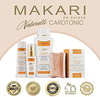 Makari Naturalle Carotonic Extreme BODY Lotion 17.6oz – Lightening, Toning & Moisturizing Body Cream With Carrot Oil & SPF 15 – Anti-Aging & Whitening Treatment for Dark Spots, Acne Scars & Wrinkles