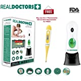 Medical Digital Thermometer, Baby Forehead Thermometer & Ear Thermometer FDA Approved 8 in 1 Instant & Accurate Temporal Thermometer & Contact Fever Thermometer For Adults Best Thermometer By Real Doctors