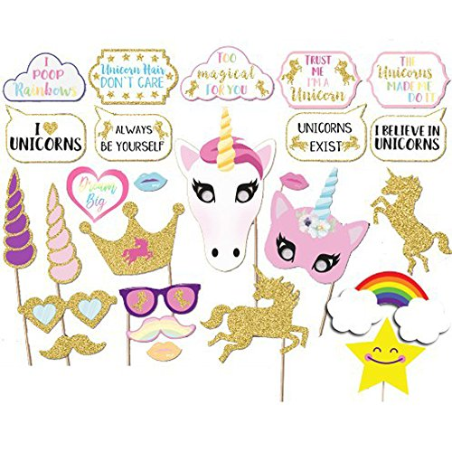 Unicorn Birthday Party Photo Booth Props 26pcs DIY Kit Dress Up for Bithday, Wedding, Bachelor Party