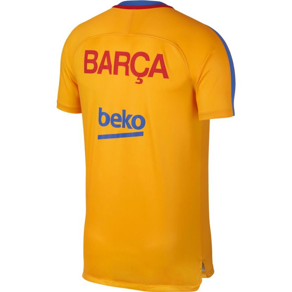 Nike Men s Barcelona NK Dry Squad Top SS GX Soccer Training Jersey (Sz.  X-Large) Gold b9819ed15a0