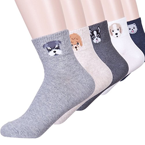 DearMy Womens Cute Design Casual Cotton Crew Socks | Good for Gift Idea| One Size Fits All (Poodle 5 (Casual Socks Set)