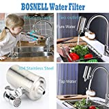 Faucet Water Filter, 304 Stainless-Steel Filtration System, Large Water Flow, Water Purifier, Reduce Chlorine, Lead Reduction, Double Outlet, Fits Standard Faucets