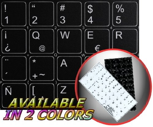 SPANISH LATIN AMERICAN NON-TRANSPARENT KEYBOARD LABELS LAYOUT BLACK OR WHITE BACKGROUND (14x14) FOR DESKTOP, LAPTOP AND NOTEBOOK (Black Background)