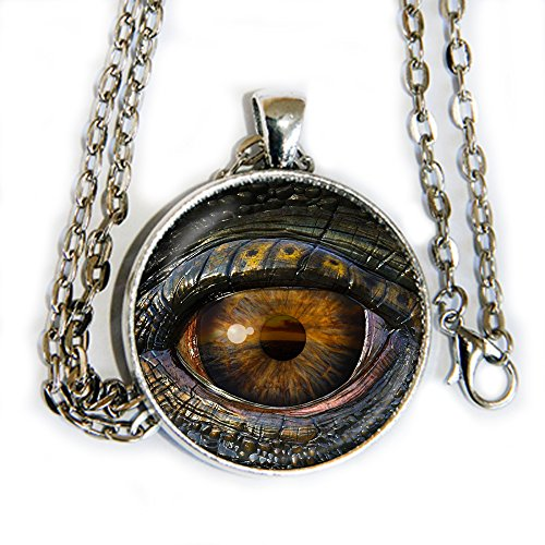 (Natural Dragon's Eye - glass domed cabochon pendant necklace - HM)