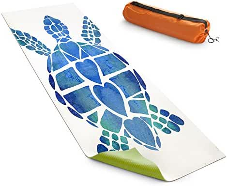 DiaNoche Designs Yoga Mats By Catherine Holcombe - Turtle Love Blue