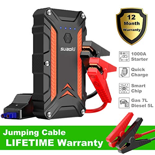 SUAOKI Car Jump Starter, 1000A Peak 12V Protable Auto Vehicle Battery Booster (up to 7L gas 5L diesel engine), 18W Power Pack Charger Dual USB Ports IP68 Waterproof Led Flashlight with Protection Case (Radio Shack Portable Power Bank Not Charging)