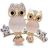 Bobury Brooch Owl Shape Rhinestone Covered Crystal Beauty Brooch Pin Scarves Shawl Clip For Women Ladies