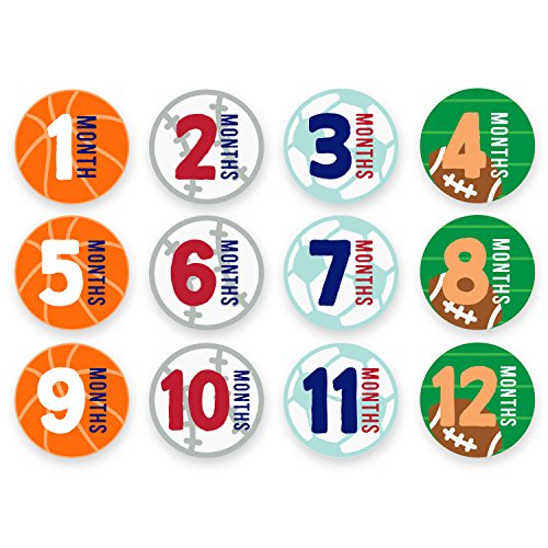 Tiny Ideas First Year Monthly Milestone Sports Baby Belly Stickers, Basketball, Baseball, Soccer, and Football, 1-12 Months -