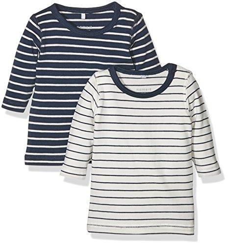 NAME IT Unisex Baby Pullover Nitsalk 2P LS Top Mznb, 2er Pack, Mehrfarbig (Dress Blues Pack:Dress Blues + Snow White), 68