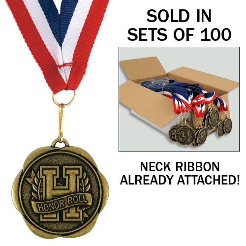 (Set of 100 Award Medals with Neck Ribbons - Honor)