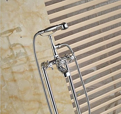 GOWE Floor Mount Clawfoot Bathroom Bathtub Filler Tub Faucet W/Handshower Free Standing