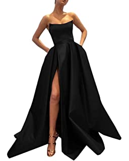 Ever-Beauty Womens Long Strapless Satin Prom Dress Sleeveless Slit Evening  Ball Gown with Pockets f17ff43ef
