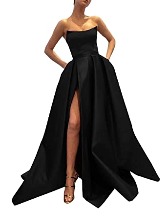 d502b8be46c88 Ever-Beauty Womens Long Strapless Satin Prom Dress Sleeveless Slit Evening  Ball Gown with Pockets
