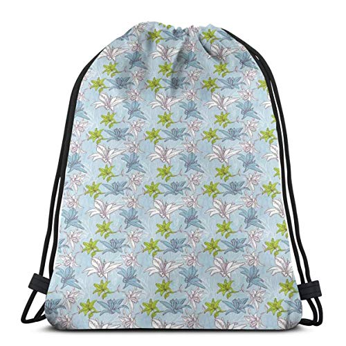 - Unisex Drawstring Bag Gym Bags Storage Backpack,Lily Bouquet Pattern Blossoming Illustration With Vintage Inspirations