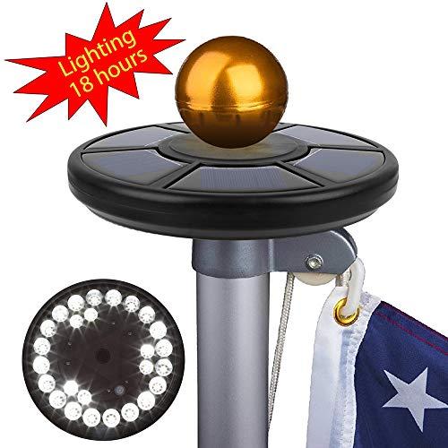 - Pansonite Flag Pole Light 26LED Solar Powered FlagPole Waterproof Downlight, 95% Solar Panel Coverage, 60% Light Coverage, 18h Light time, Energy-Saving(Black)