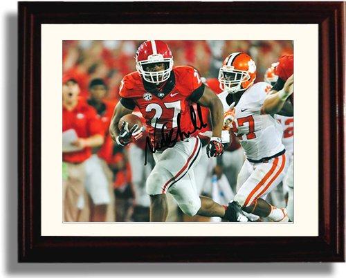 Framed Georgia Bulldogs - Nick Chubb TD Run Autograph Replica - Bulldogs Georgia Framed