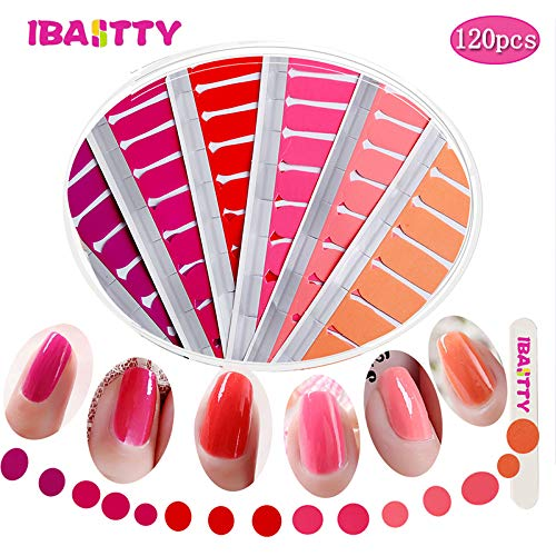 IBAOTTY 120pcs Nail Art Wraps Sticker Simple Nail Polish For Women Sticker Strips DIY Fullnail Polish patch Strips for Summer,Wedding, Party, Shopping, ()