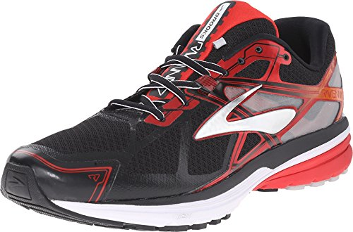 Brooks Men's Ravenna 7 Black/High Risk Red/Silver Sneaker 11 D (M)