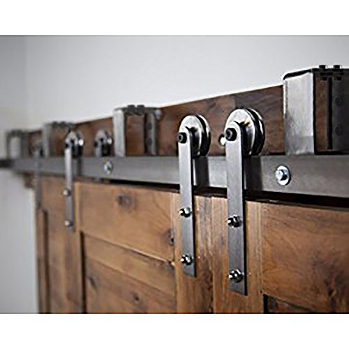 HomeDeco Hardware 5-16 FT Bypass Barn Door Hardware Doubl...