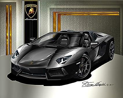 Amazon Com L1314 72015 Lamborghini Aventador Roadster Black Art