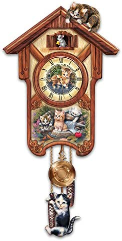 The Bradford Exchange Happy Trails Cuckoo Clock with Kitten Art by Jurgen Scholz Limited Edition