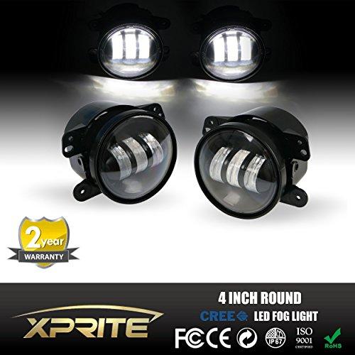 Xprite 4″ Inch 60W Cree Led Fog Lights for Jeep Wrangler 1997-2016 JK TJ LJ Off Road Fog Lamps