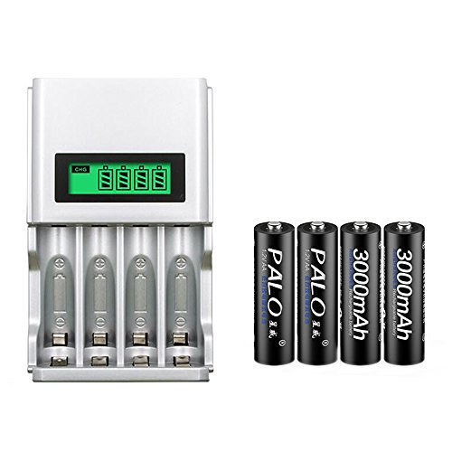 PALO 4 Slots Smart Intelligent AAA AA Rechargeable Batteries Battery Charger LCD Display with 4PCS AA 3000mAh batteries (with 4PCS AA batteries)